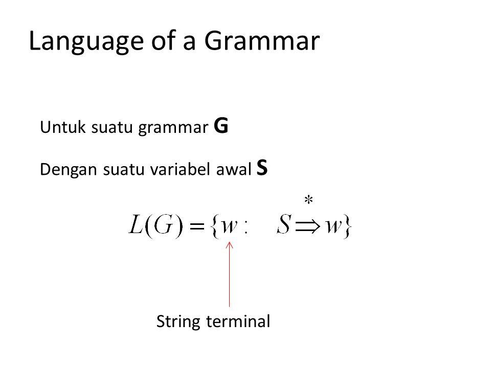 String terminal Untuk suatu grammar G Dengan suatu variabel awal S Language of a Grammar
