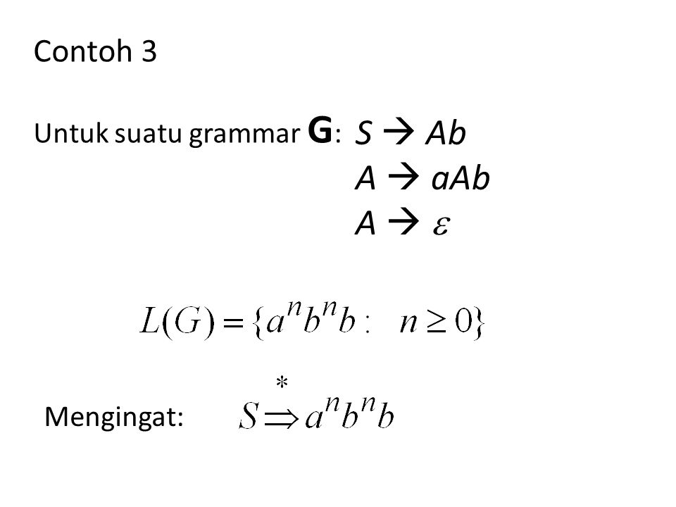 Mengingat: Contoh 3 Untuk suatu grammar G : S  Ab A  aAb A  