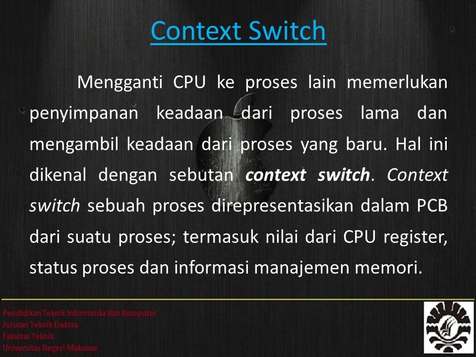 Context Switch Mengganti CPU ke proses lain memerlukan penyimpanan keadaan dari proses lama dan mengambil keadaan dari proses yang baru. Hal ini diken