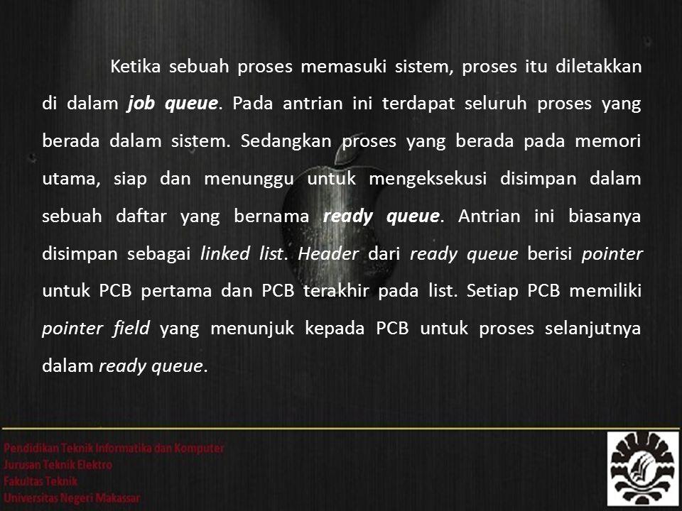 Ketika sebuah proses memasuki sistem, proses itu diletakkan di dalam job queue. Pada antrian ini terdapat seluruh proses yang berada dalam sistem. Sed