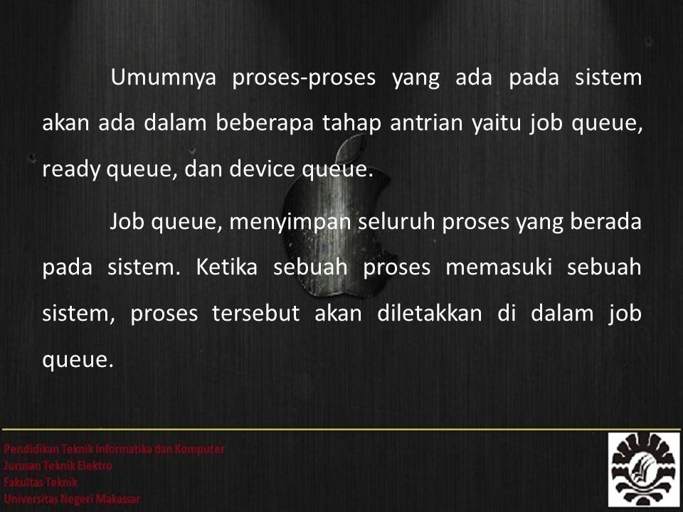Umumnya proses-proses yang ada pada sistem akan ada dalam beberapa tahap antrian yaitu job queue, ready queue, dan device queue. Job queue, menyimpan