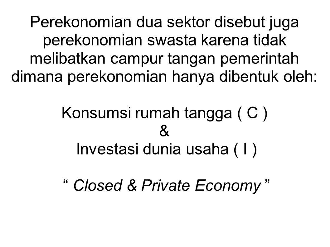 Perekonomian dua sektor disebut juga perekonomian swasta karena tidak melibatkan campur tangan pemerintah dimana perekonomian hanya dibentuk oleh: Kon