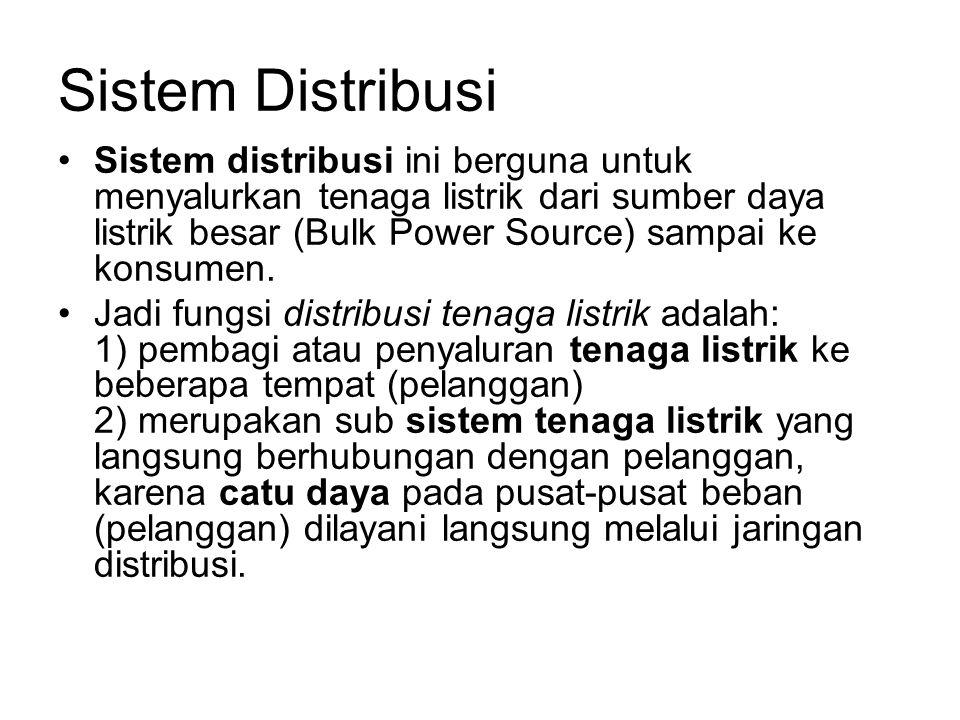 Sistem Distribusi Sistem distribusi ini berguna untuk menyalurkan tenaga listrik dari sumber daya listrik besar (Bulk Power Source) sampai ke konsumen