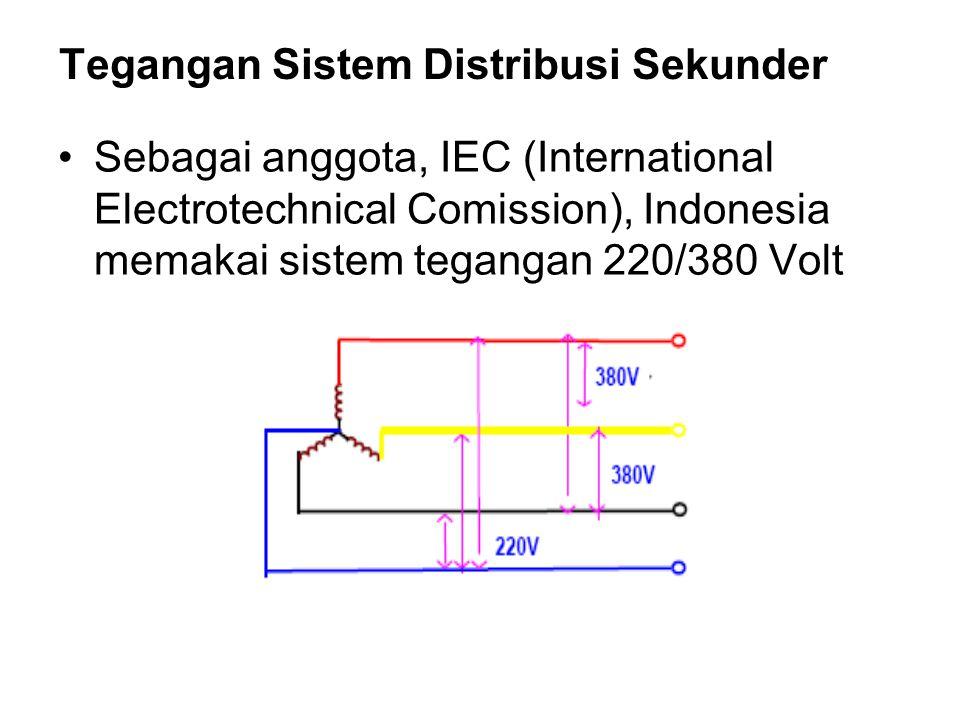 Tegangan Sistem Distribusi Sekunder Sebagai anggota, IEC (International Electrotechnical Comission), Indonesia memakai sistem tegangan 220/380 Volt