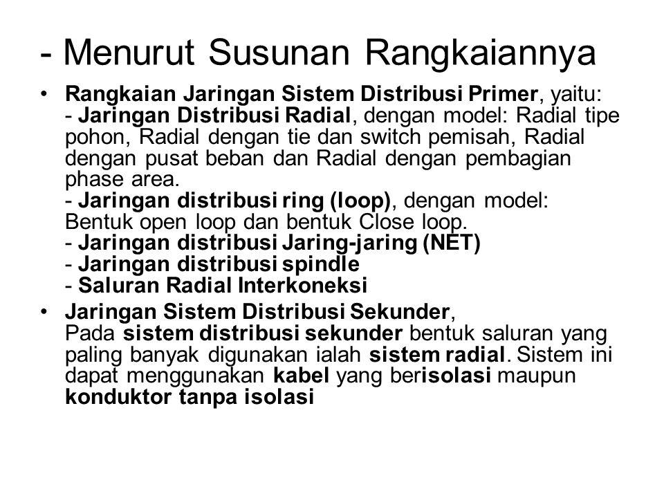 - Menurut Susunan Rangkaiannya Rangkaian Jaringan Sistem Distribusi Primer, yaitu: - Jaringan Distribusi Radial, dengan model: Radial tipe pohon, Radi