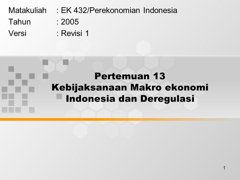 1 Pertemuan 13 Kebijaksanaan Makro ekonomi Indonesia dan Deregulasi Matakuliah: EK 432/Perekonomian Indonesia Tahun: 2005 Versi: Revisi 1