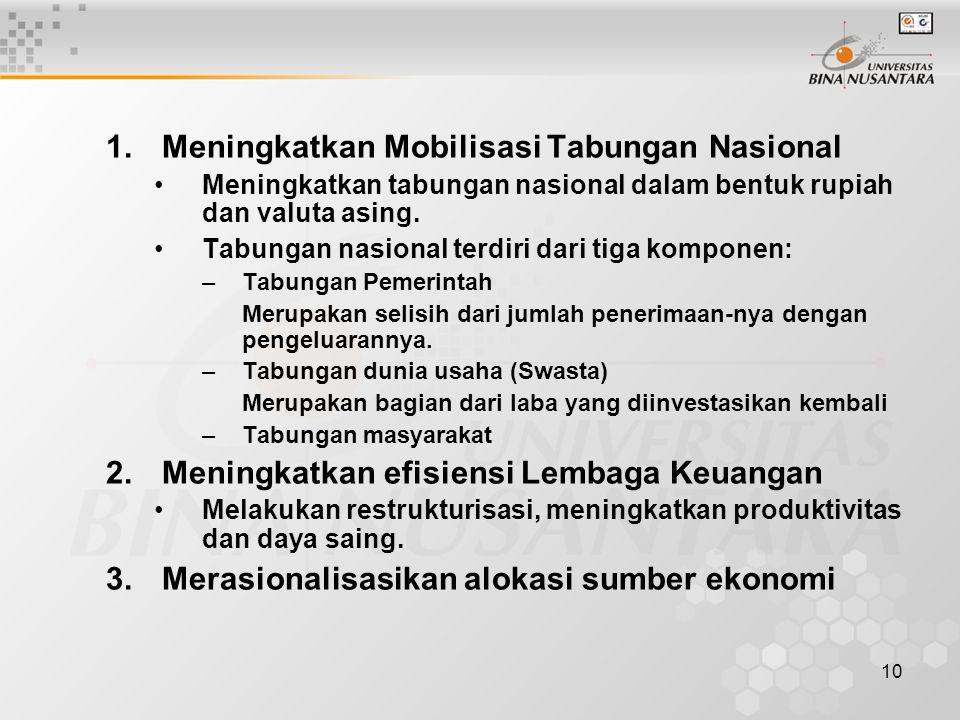 10 1.Meningkatkan Mobilisasi Tabungan Nasional Meningkatkan tabungan nasional dalam bentuk rupiah dan valuta asing. Tabungan nasional terdiri dari tig