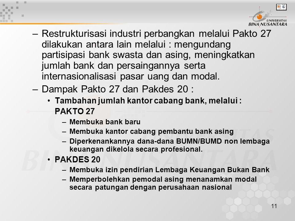 11 –Restrukturisasi industri perbangkan melalui Pakto 27 dilakukan antara lain melalui : mengundang partisipasi bank swasta dan asing, meningkatkan ju