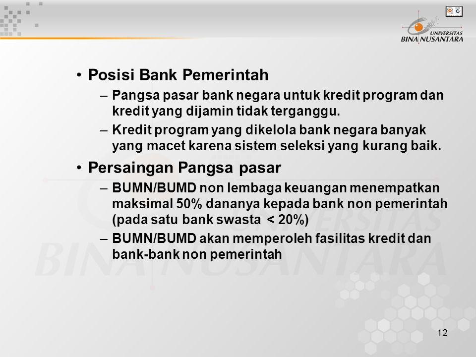 12 Posisi Bank Pemerintah –Pangsa pasar bank negara untuk kredit program dan kredit yang dijamin tidak terganggu. –Kredit program yang dikelola bank n
