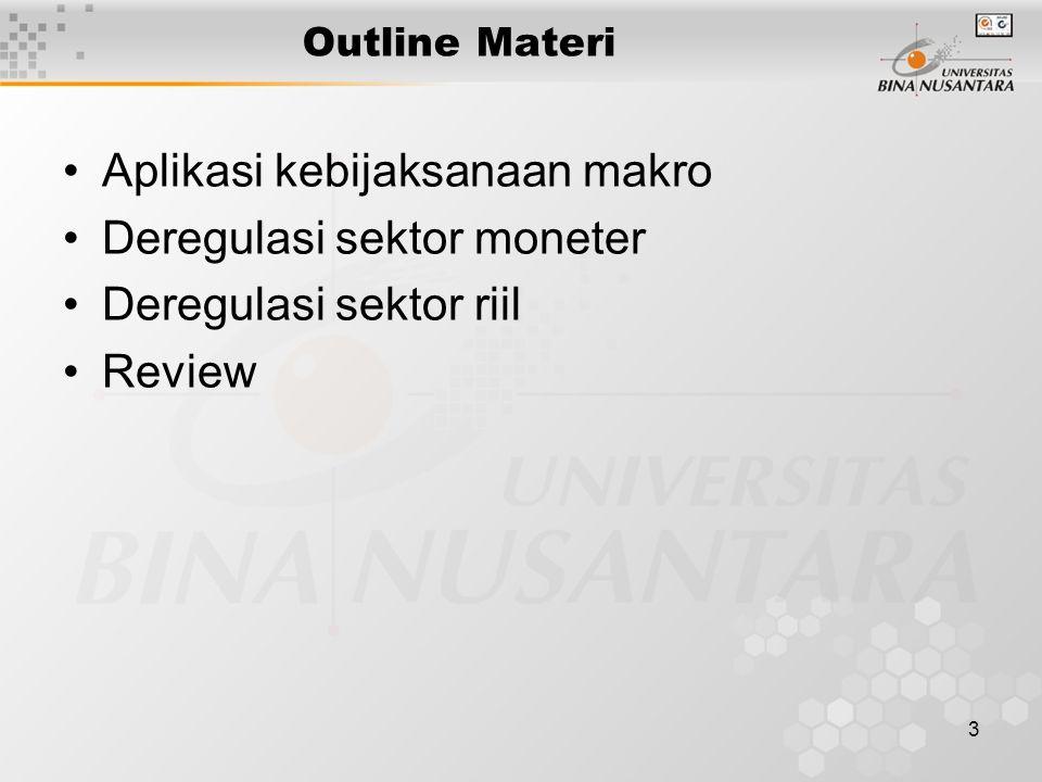 3 Outline Materi Aplikasi kebijaksanaan makro Deregulasi sektor moneter Deregulasi sektor riil Review