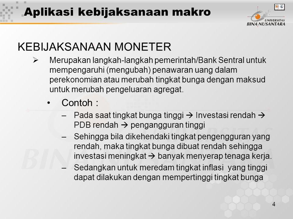 4 Aplikasi kebijaksanaan makro KEBIJAKSANAAN MONETER  Merupakan langkah-langkah pemerintah/Bank Sentral untuk mempengaruhi (mengubah) penawaran uang