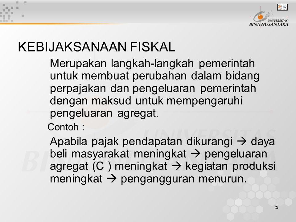 5 KEBIJAKSANAAN FISKAL Merupakan langkah-langkah pemerintah untuk membuat perubahan dalam bidang perpajakan dan pengeluaran pemerintah dengan maksud u