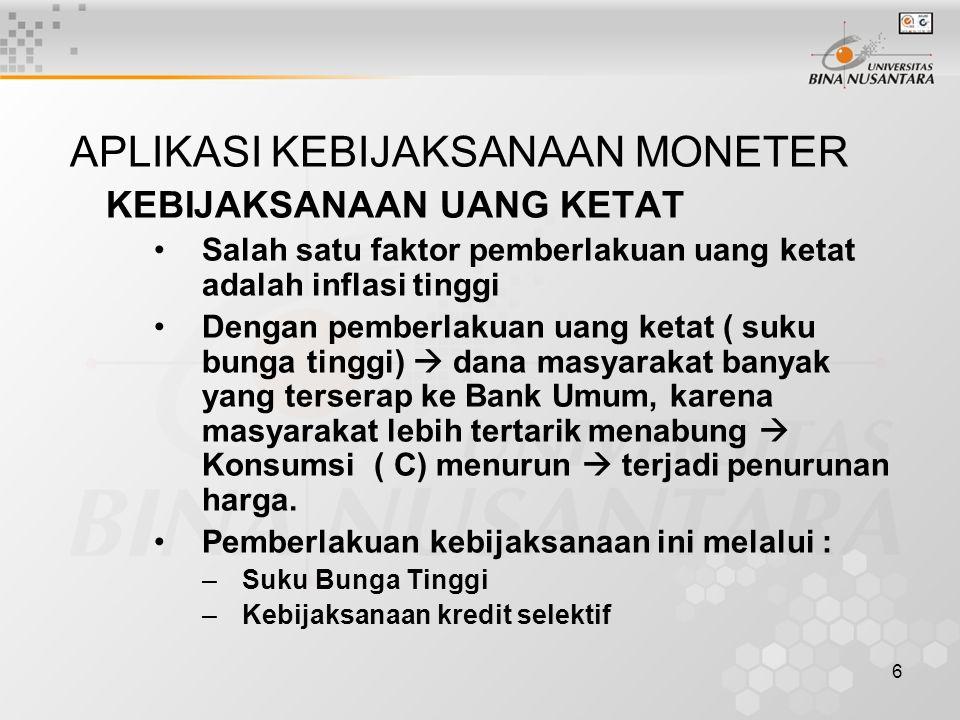 6 APLIKASI KEBIJAKSANAAN MONETER KEBIJAKSANAAN UANG KETAT Salah satu faktor pemberlakuan uang ketat adalah inflasi tinggi Dengan pemberlakuan uang ket