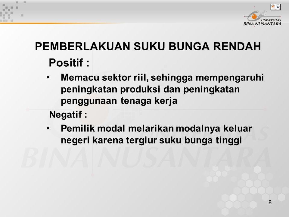 8 PEMBERLAKUAN SUKU BUNGA RENDAH Positif : Memacu sektor riil, sehingga mempengaruhi peningkatan produksi dan peningkatan penggunaan tenaga kerja Nega