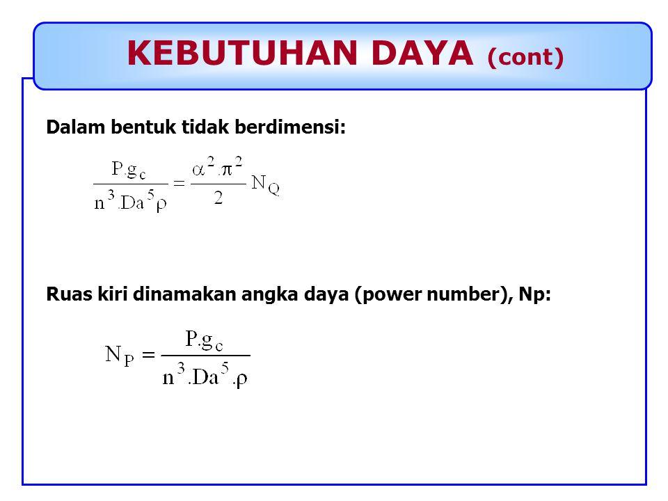KEBUTUHAN DAYA (cont) Dalam bentuk tidak berdimensi: Ruas kiri dinamakan angka daya (power number), Np: