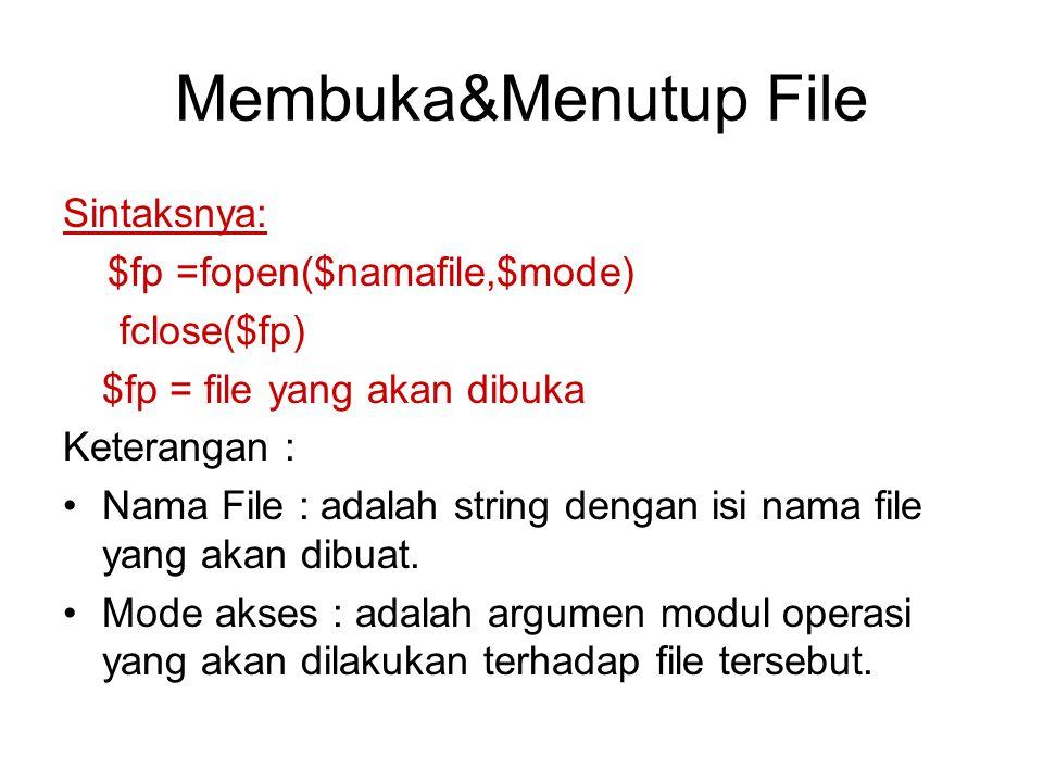 Membuka&Menutup File Sintaksnya: $fp =fopen($namafile,$mode) fclose($fp) $fp = file yang akan dibuka Keterangan : Nama File : adalah string dengan isi