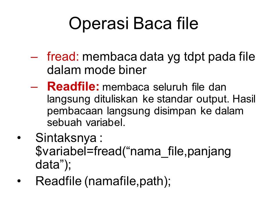 Operasi Baca file –fread: membaca data yg tdpt pada file dalam mode biner –Readfile: membaca seluruh file dan langsung dituliskan ke standar output. H