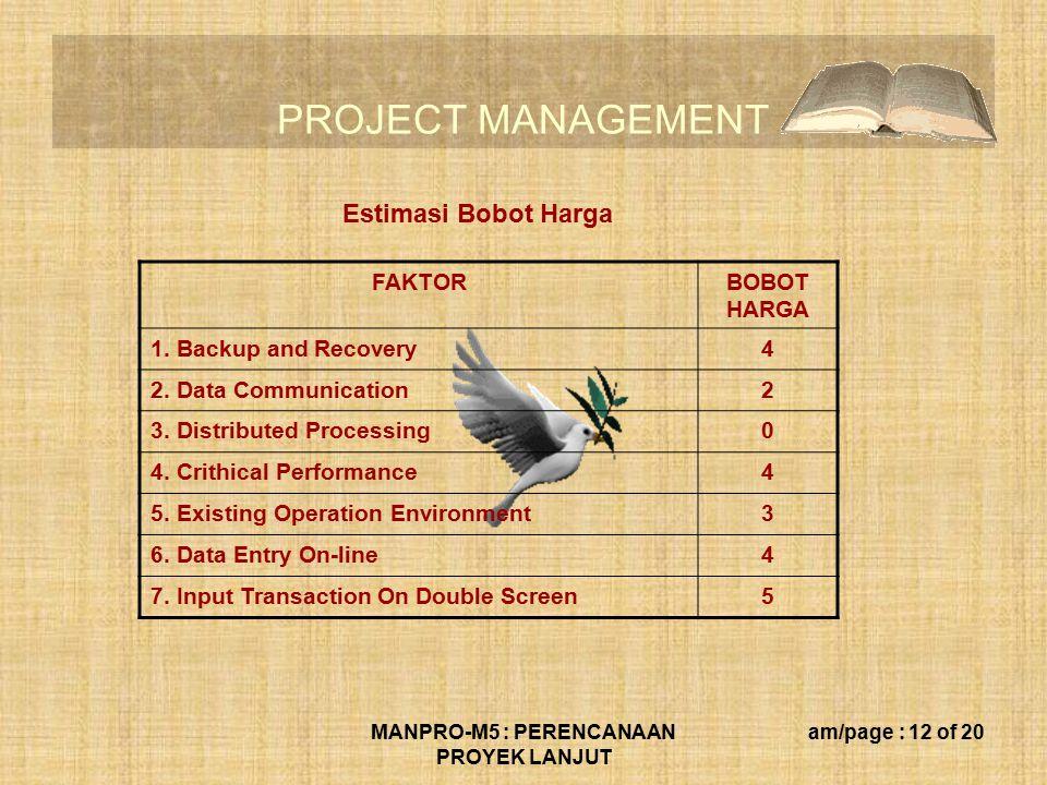 PROJECT MANAGEMENT MANPRO-M5 : PERENCANAAN PROYEK LANJUT am/page : 12 of 20 FAKTORBOBOT HARGA 1.