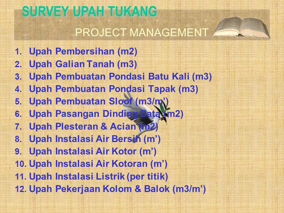 PROJECT MANAGEMENT SURVEY UPAH TUKANG 1. Upah Pembersihan (m2) 2. Upah Galian Tanah (m3) 3. Upah Pembuatan Pondasi Batu Kali (m3) 4. Upah Pembuatan Po