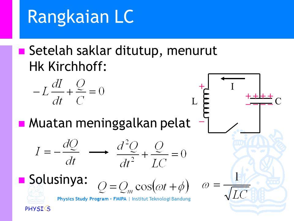 Physics Study Program - FMIPA | Institut Teknologi Bandung PHYSI S Energi Total Total energi dari sistem adalah jumlah energi dalam medan listrik dan magnet.