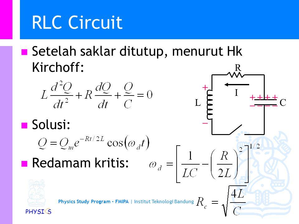 Physics Study Program - FMIPA | Institut Teknologi Bandung PHYSI S Contoh soal Perhatikan rangkaian berikut.