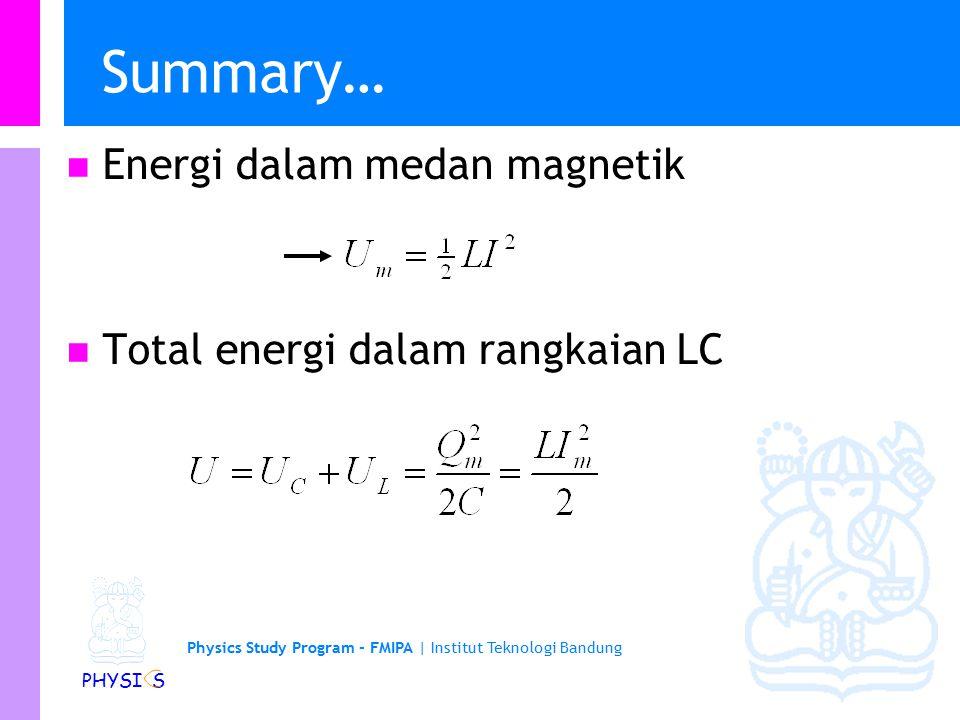 Physics Study Program - FMIPA   Institut Teknologi Bandung PHYSI S Summary… Energi dalam medan magnetik Total energi dalam rangkaian LC