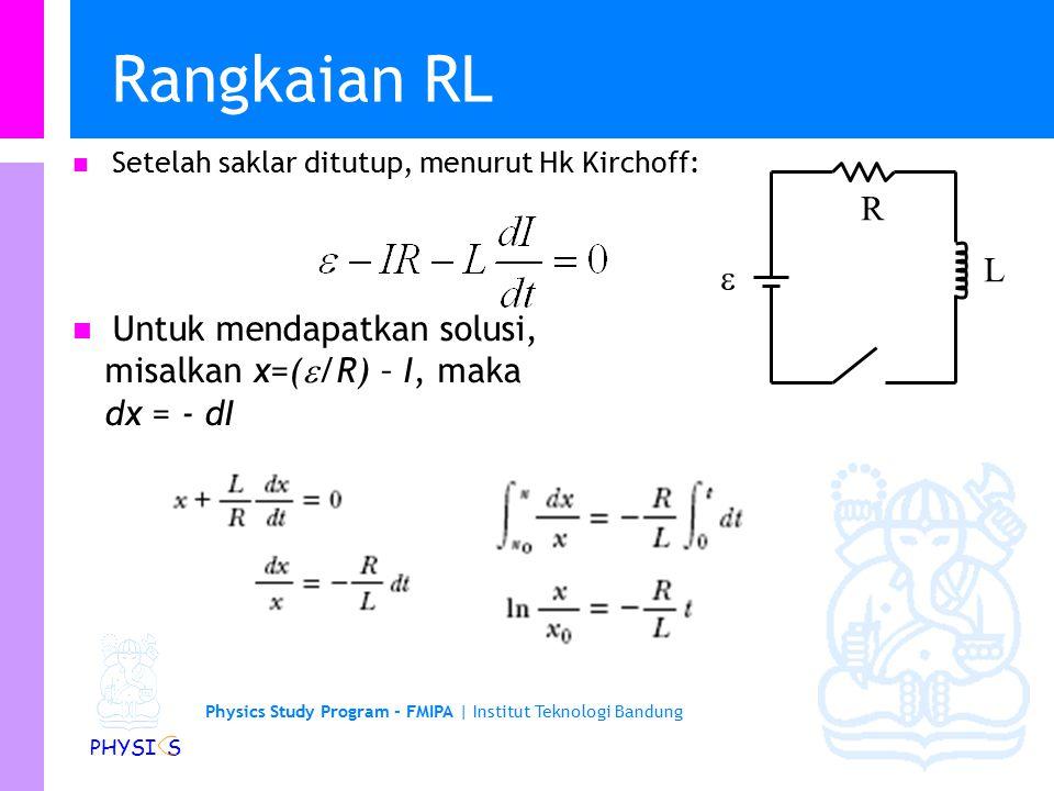 Physics Study Program - FMIPA | Institut Teknologi Bandung PHYSI S Rangkaian RL… Dimana x 0 adalah x pada t = 0.