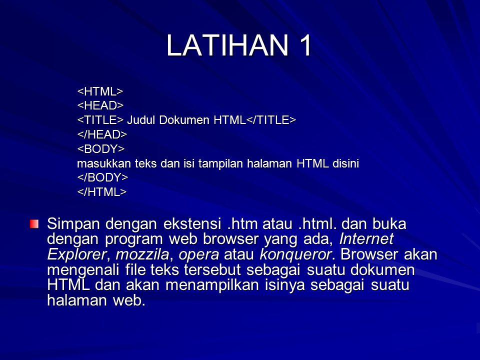 LATIHAN 1 <HTML><HEAD> Judul Dokumen HTML Judul Dokumen HTML </HEAD><BODY> masukkan teks dan isi tampilan halaman HTML disini </BODY></HTML> Simpan de