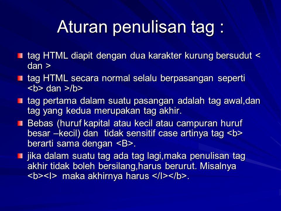 Aturan penulisan tag : tag HTML diapit dengan dua karakter kurung bersudut tag HTML diapit dengan dua karakter kurung bersudut tag HTML secara normal