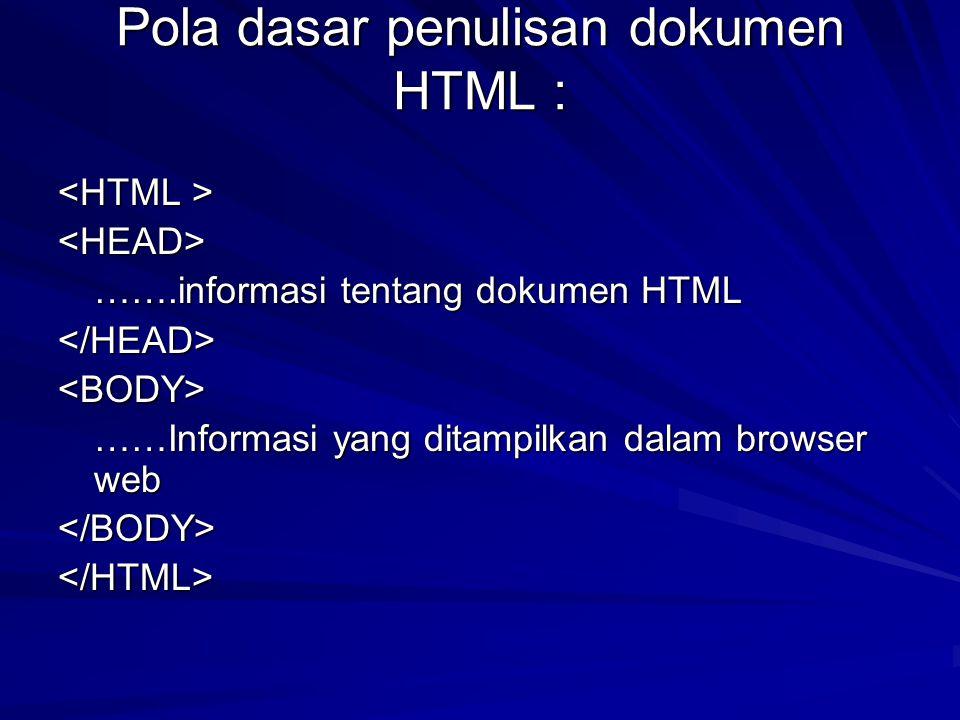 Pola dasar penulisan dokumen HTML : <HEAD> …….informasi tentang dokumen HTML …….informasi tentang dokumen HTML</HEAD><BODY> ……Informasi yang ditampilk
