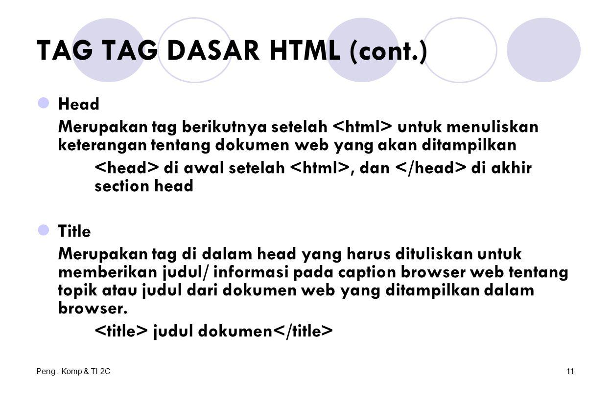 Peng. Komp & TI 2C11 TAG TAG DASAR HTML (cont.) Head Merupakan tag berikutnya setelah untuk menuliskan keterangan tentang dokumen web yang akan ditamp