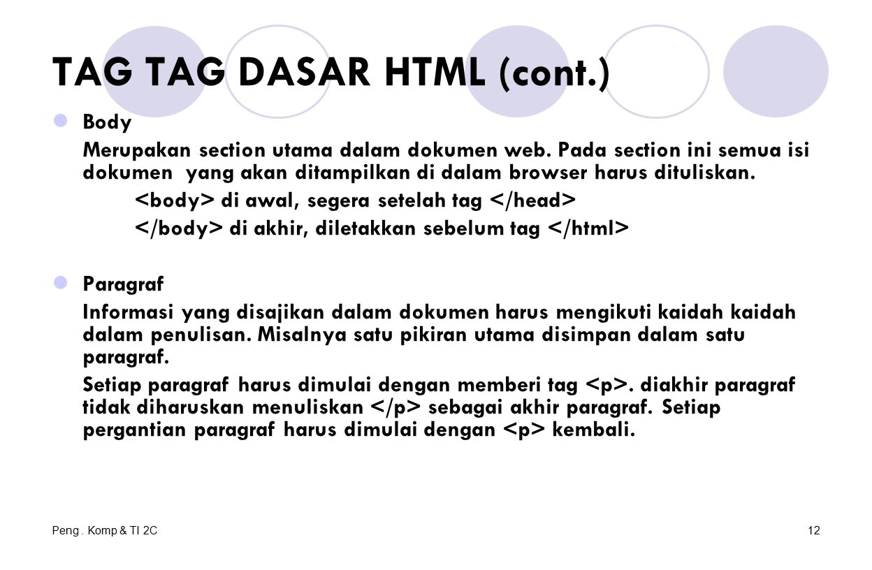 Peng. Komp & TI 2C12 TAG TAG DASAR HTML (cont.) Body Merupakan section utama dalam dokumen web. Pada section ini semua isi dokumen yang akan ditampilk