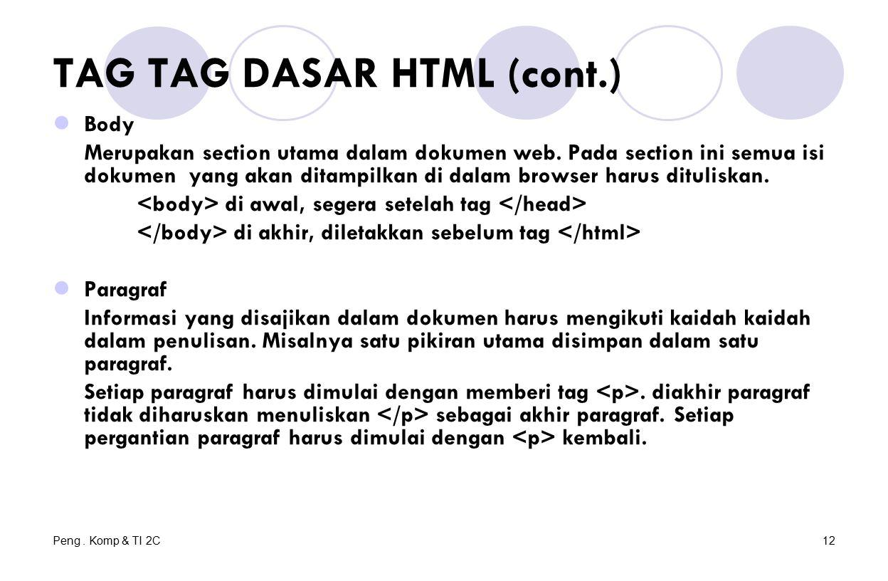 Peng. Komp & TI 2C12 TAG TAG DASAR HTML (cont.) Body Merupakan section utama dalam dokumen web.