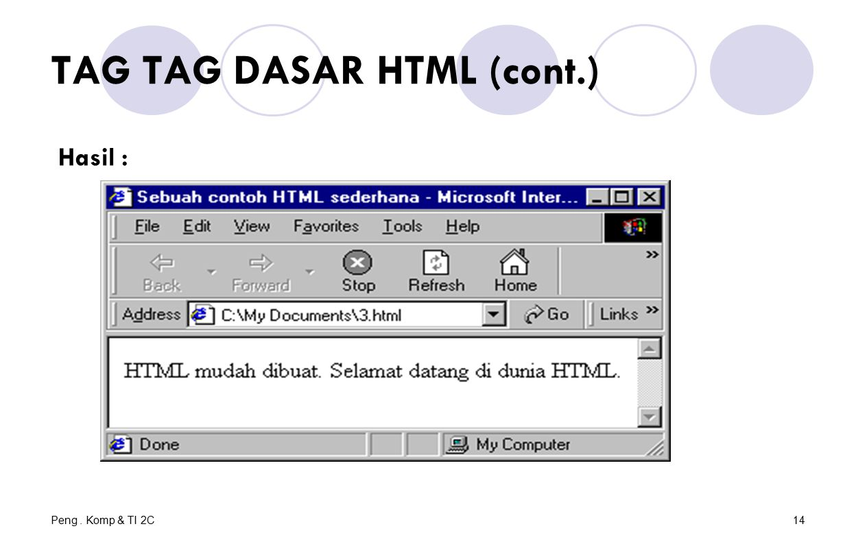 Peng. Komp & TI 2C14 TAG TAG DASAR HTML (cont.) Hasil :