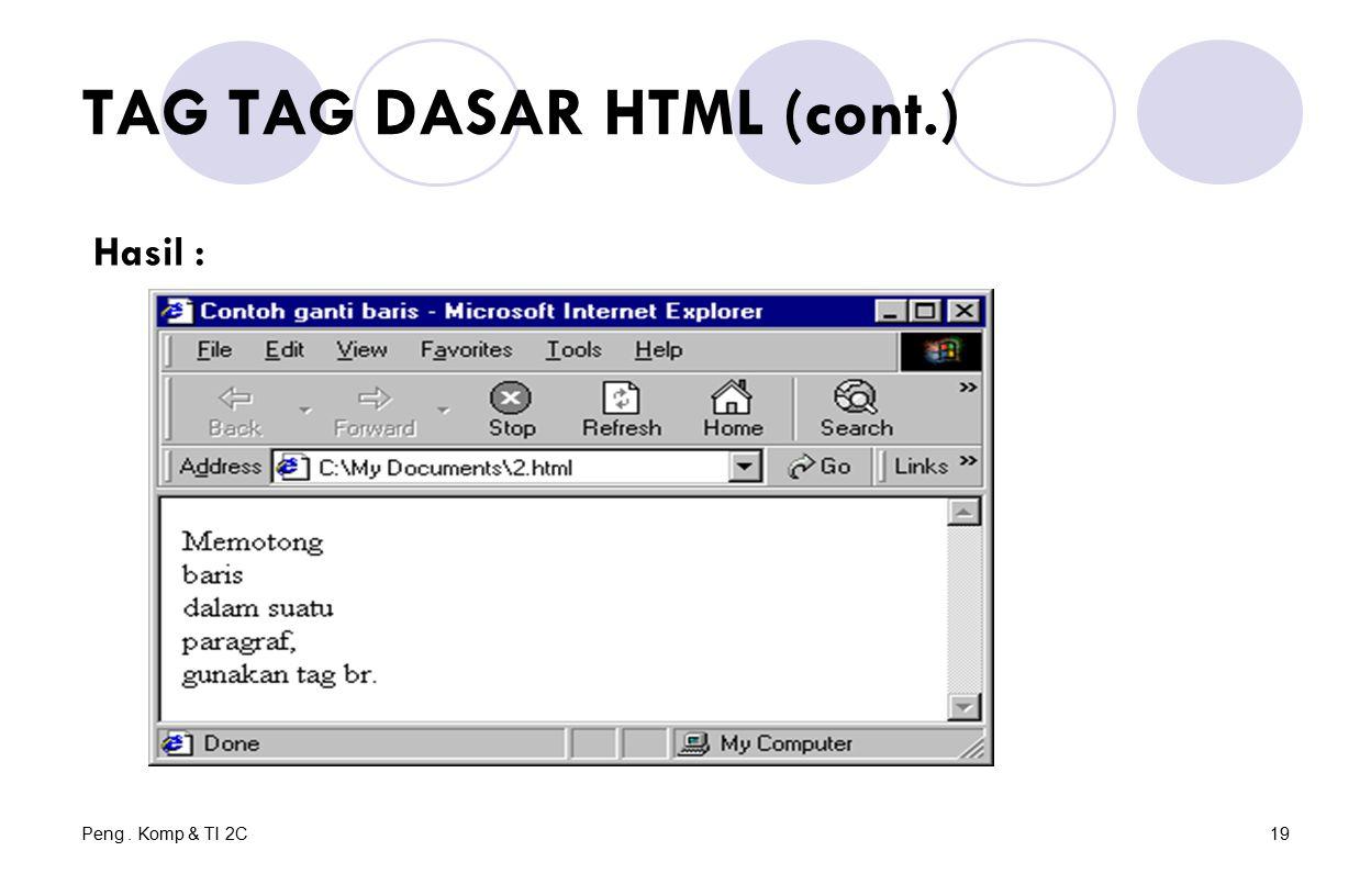 Peng. Komp & TI 2C19 TAG TAG DASAR HTML (cont.) Hasil :