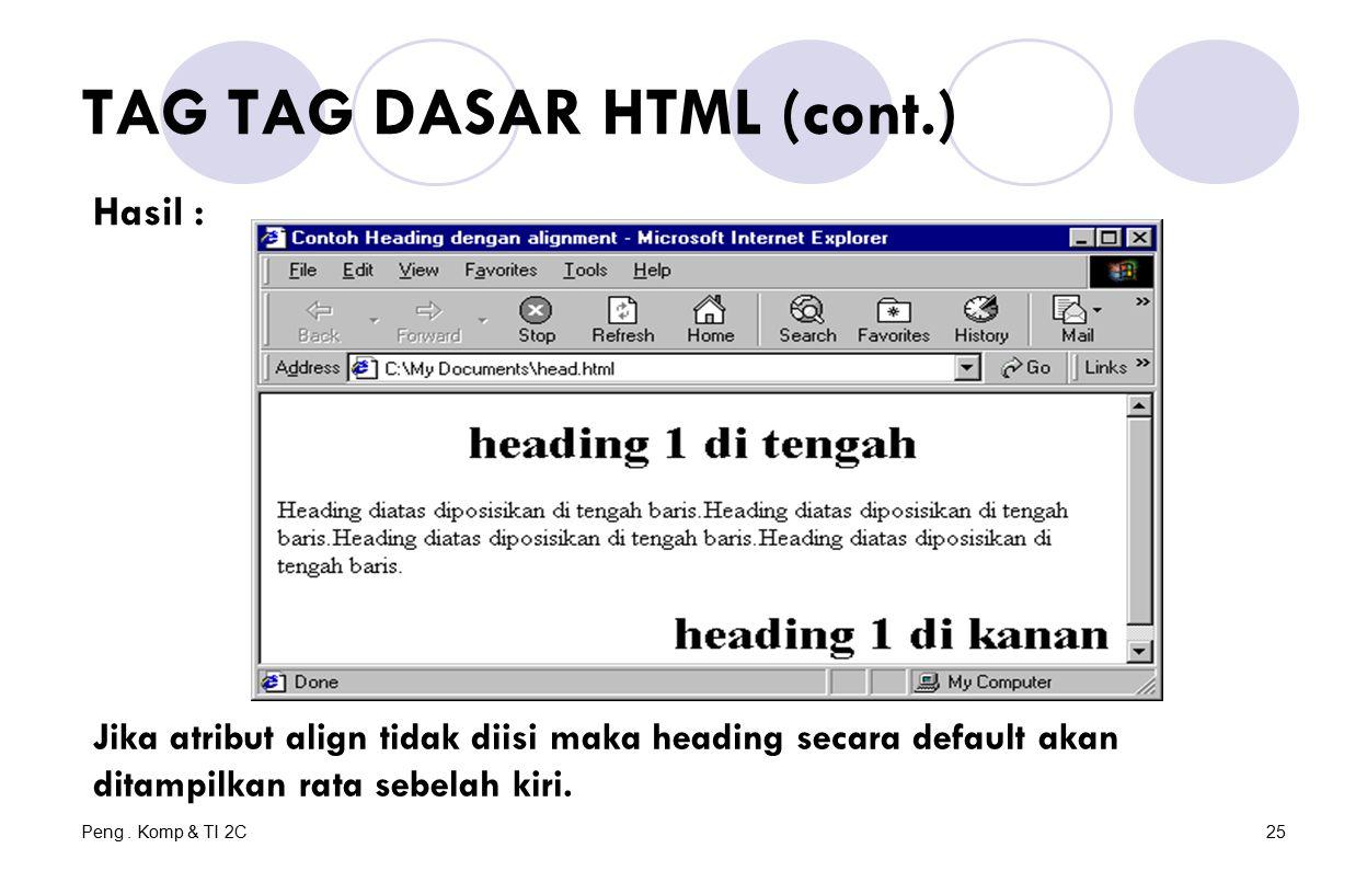 Peng. Komp & TI 2C25 TAG TAG DASAR HTML (cont.) Hasil : Jika atribut align tidak diisi maka heading secara default akan ditampilkan rata sebelah kiri.