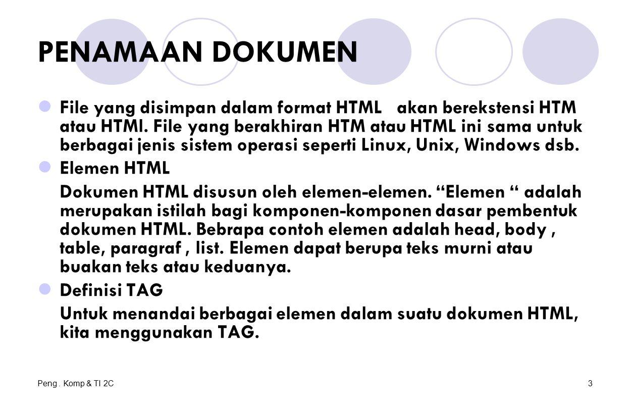 Peng. Komp & TI 2C3 PENAMAAN DOKUMEN File yang disimpan dalam format HTML akan berekstensi HTM atau HTMl. File yang berakhiran HTM atau HTML ini sama