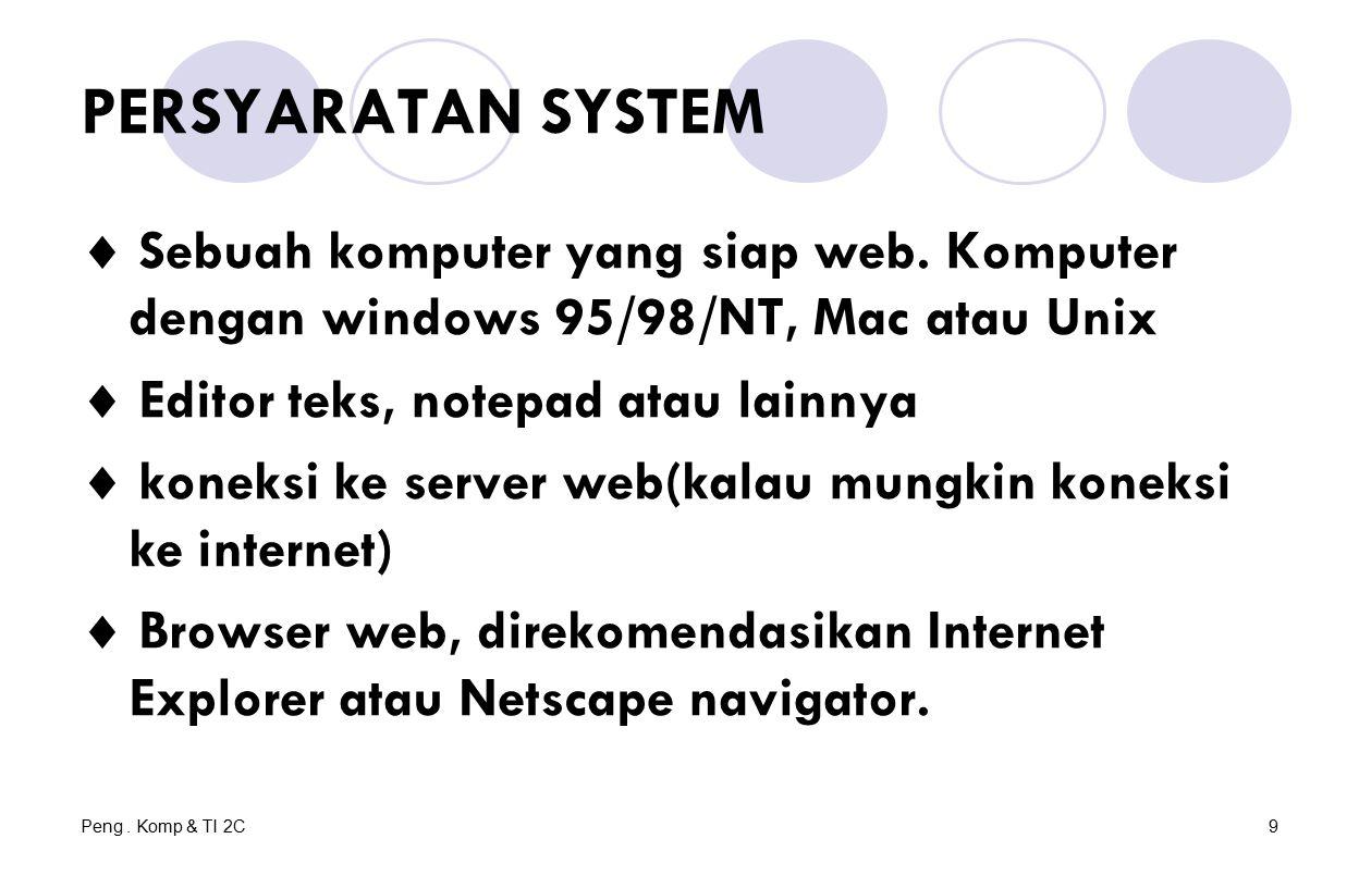 Peng. Komp & TI 2C9 PERSYARATAN SYSTEM  Sebuah komputer yang siap web. Komputer dengan windows 95/98/NT, Mac atau Unix  Editor teks, notepad atau la