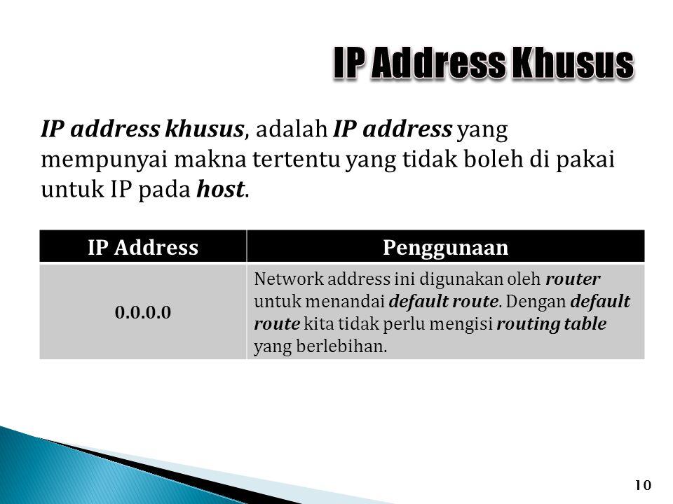 IP address khusus, adalah IP address yang mempunyai makna tertentu yang tidak boleh di pakai untuk IP pada host. 10 IP AddressPenggunaan 0.0.0.0 Netwo