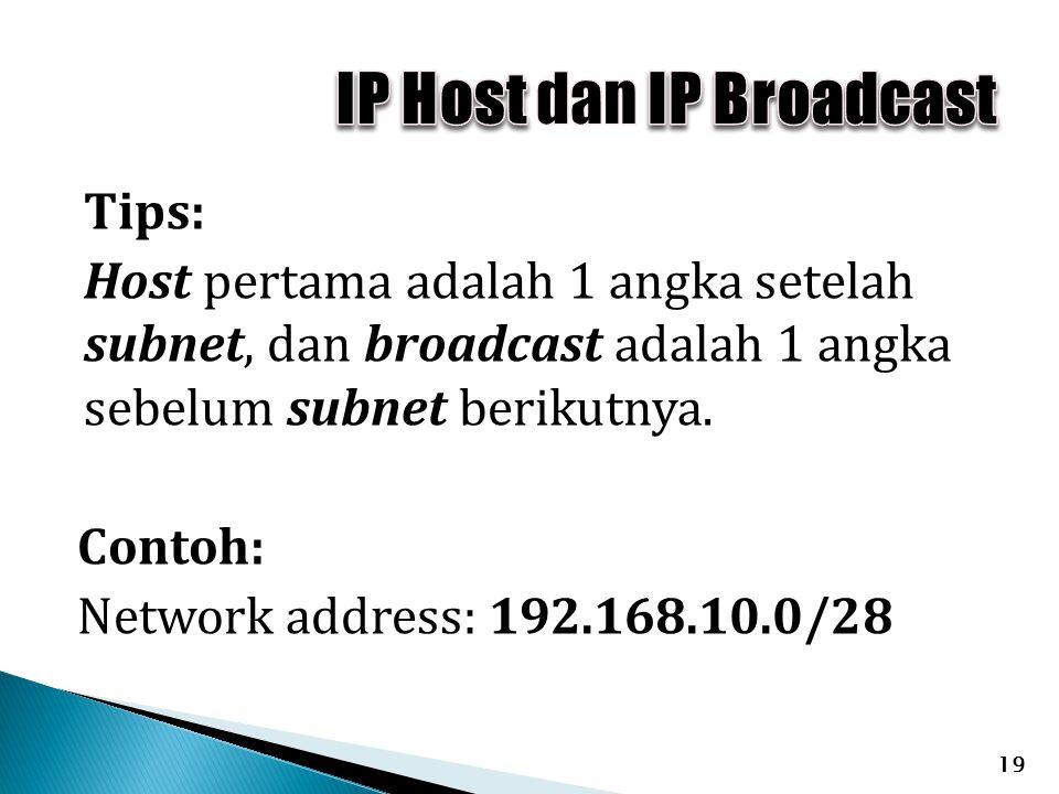 Tips: Host pertama adalah 1 angka setelah subnet, dan broadcast adalah 1 angka sebelum subnet berikutnya. Contoh: Network address: 192.168.10.0/28 19