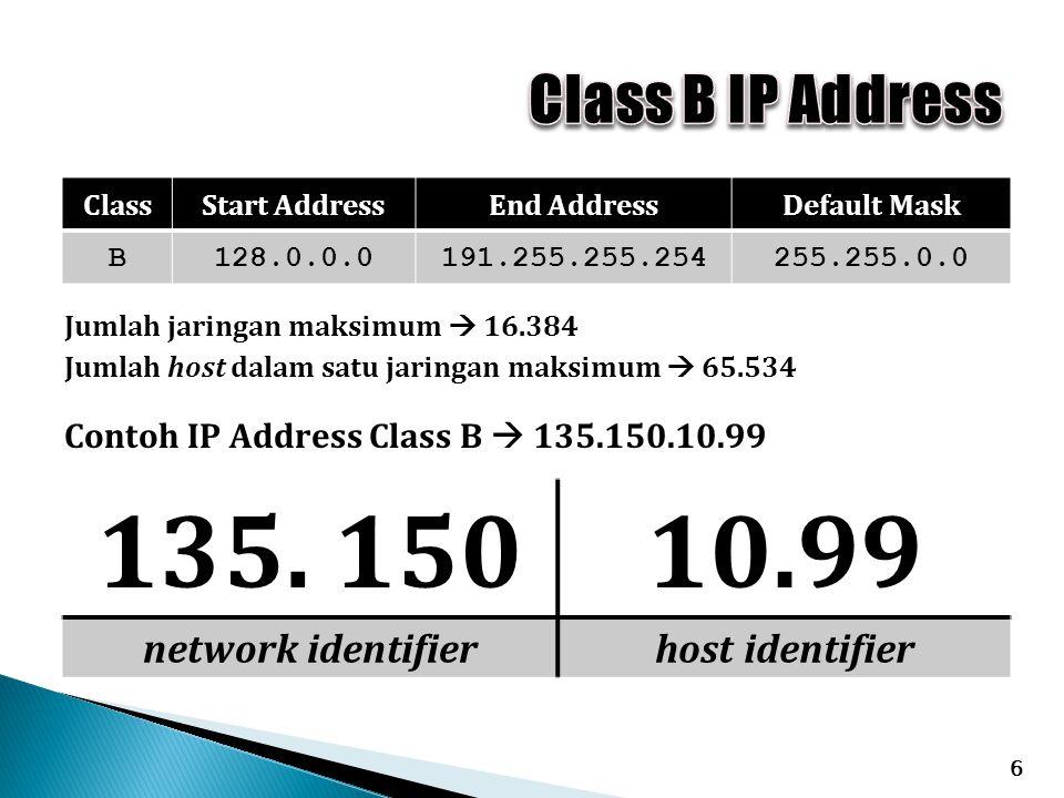 6 ClassStart AddressEnd AddressDefault Mask B128.0.0.0191.255.255.254255.255.0.0 Contoh IP Address Class B  135.150.10.99 135. 15010.99 network ident