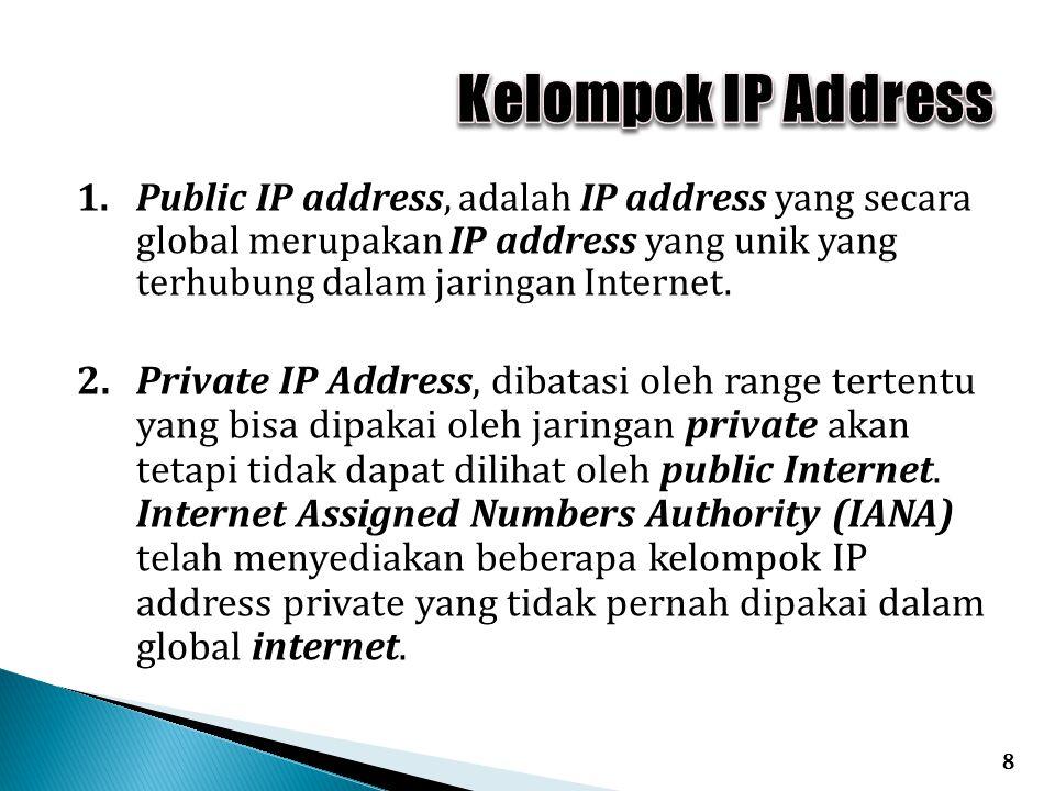 1. Public IP address, adalah IP address yang secara global merupakan IP address yang unik yang terhubung dalam jaringan Internet. 2.Private IP Address