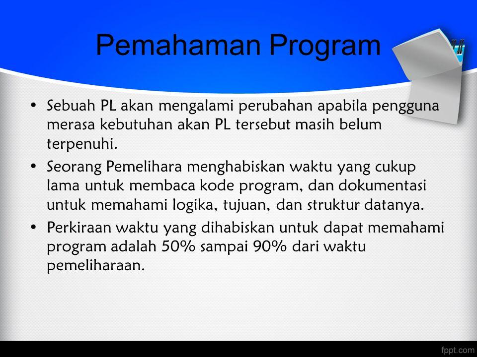Pemahaman Program Sebuah PL akan mengalami perubahan apabila pengguna merasa kebutuhan akan PL tersebut masih belum terpenuhi. Seorang Pemelihara meng