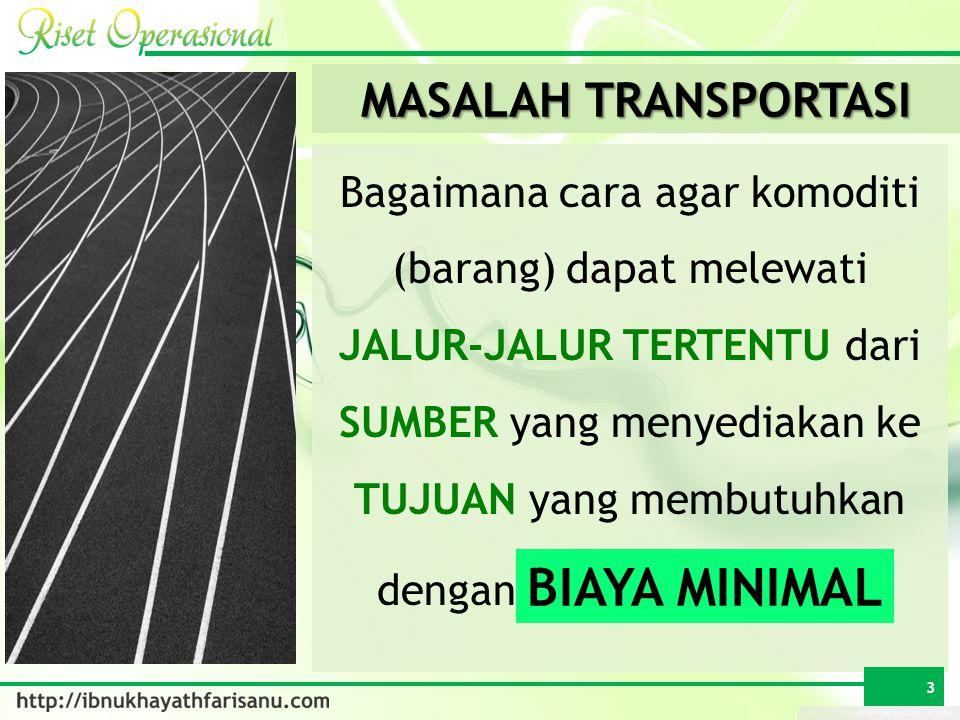 Bagaimana cara agar komoditi (barang) dapat melewati JALUR-JALUR TERTENTU dari SUMBER yang menyediakan ke TUJUAN yang membutuhkan dengan BIAYA MINIMAL