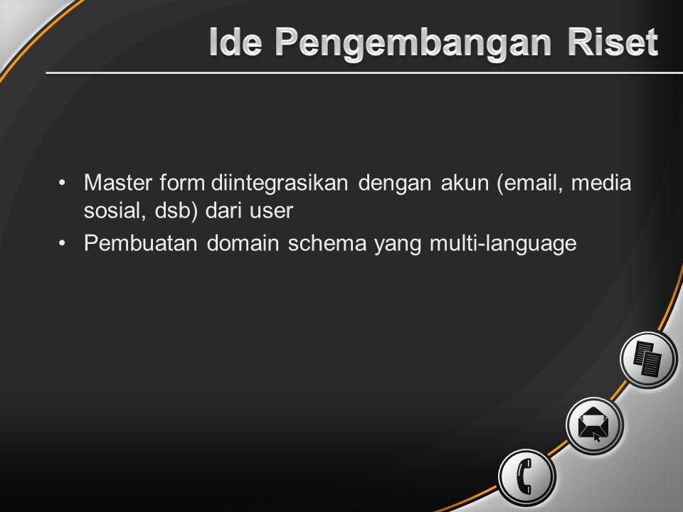 Master form diintegrasikan dengan akun (email, media sosial, dsb) dari user Pembuatan domain schema yang multi-language