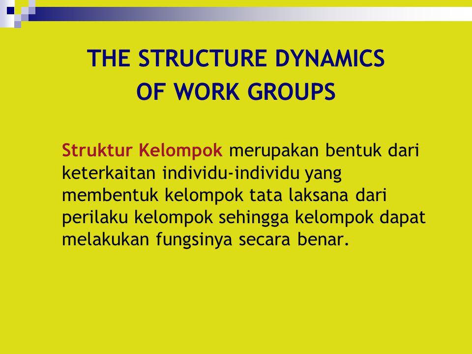 THE STRUCTURE DYNAMICS OF WORK GROUPS Struktur Kelompok merupakan bentuk dari keterkaitan individu-individu yang membentuk kelompok tata laksana dari