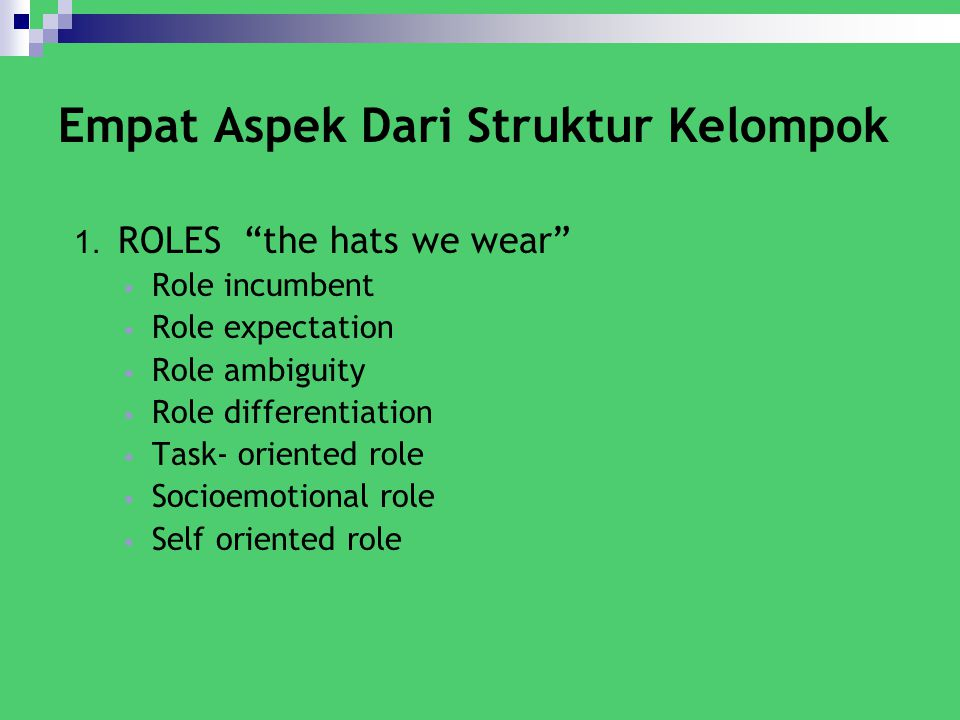 "Empat Aspek Dari Struktur Kelompok 1. ROLES ""the hats we wear"" Role incumbent Role expectation Role ambiguity Role differentiation Task- oriented role"