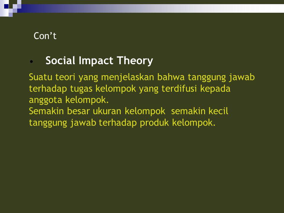 Social Impact Theory Suatu teori yang menjelaskan bahwa tanggung jawab terhadap tugas kelompok yang terdifusi kepada anggota kelompok. Semakin besar u