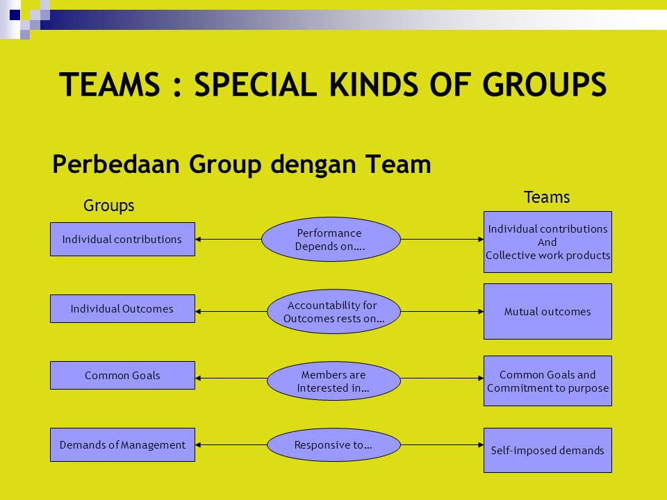TEAMS : SPECIAL KINDS OF GROUPS Perbedaan Group dengan Team Individual contributions Individual Outcomes Common Goals Demands of Management Performanc