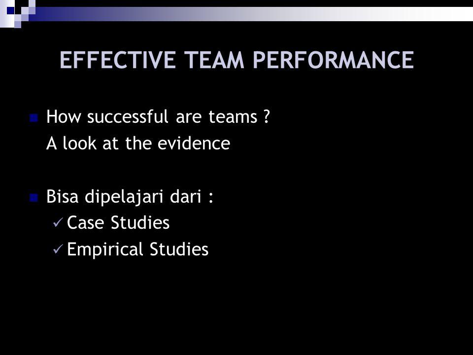 EFFECTIVE TEAM PERFORMANCE How successful are teams ? A look at the evidence Bisa dipelajari dari : Case Studies Empirical Studies